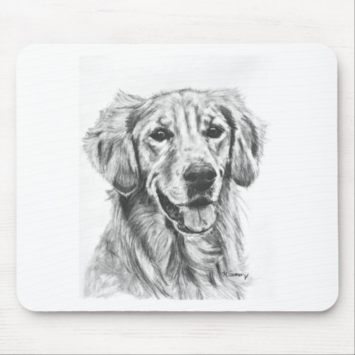 Golden Retriever Charcoal Sketch Mouse Pads