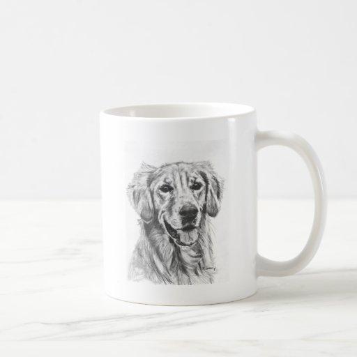 Golden Retriever Charcoal Sketch Coffee Mugs