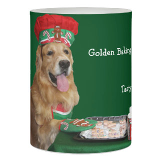 Golden Retriever Christmas Baker Flameless Candle