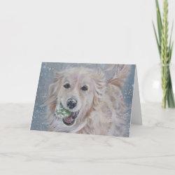 golden retriever christmas card card