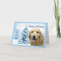 Golden Retriever Christmas Card Blue Tree card