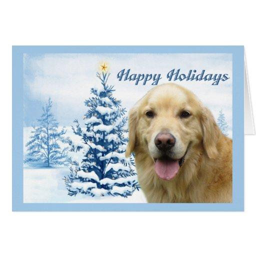 Golden Retriever  Christmas Card Blue Tree