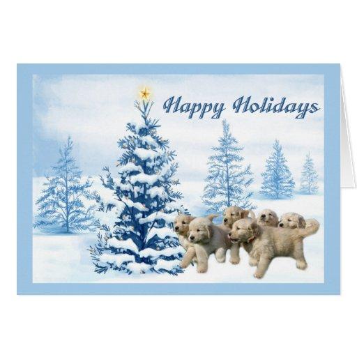 Golden Retriever  Christmas Card Blue Tree3