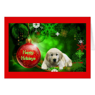 Golden Retriever  Christmas Card Red Ball5