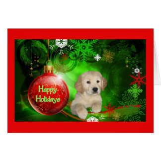 Golden Retriever  Christmas Card Red Ball8