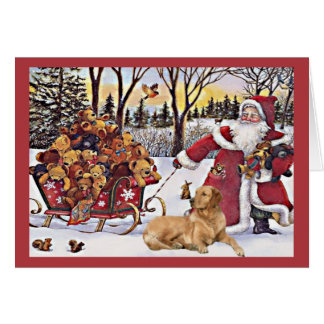 Golden Retriever  Christmas Card Santa Bears6