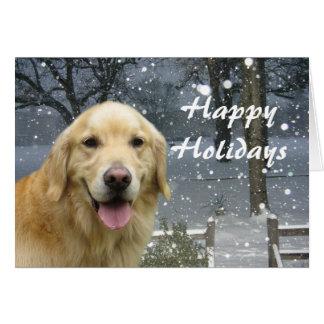 Golden Retriever  Christmas Card Snowy