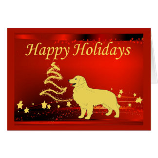 Golden Retriever  Christmas Card Stars2