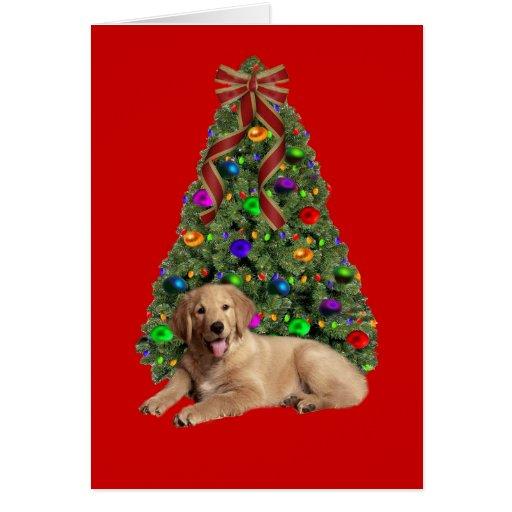Golden Retriever Christmas Card Tree