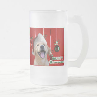 Golden Retriever Christmas Cards Gifts Frosted Glass Beer Mug