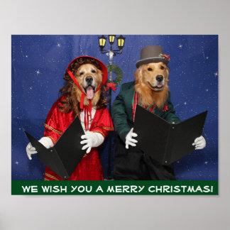Golden Retriever Christmas Carolers Poster