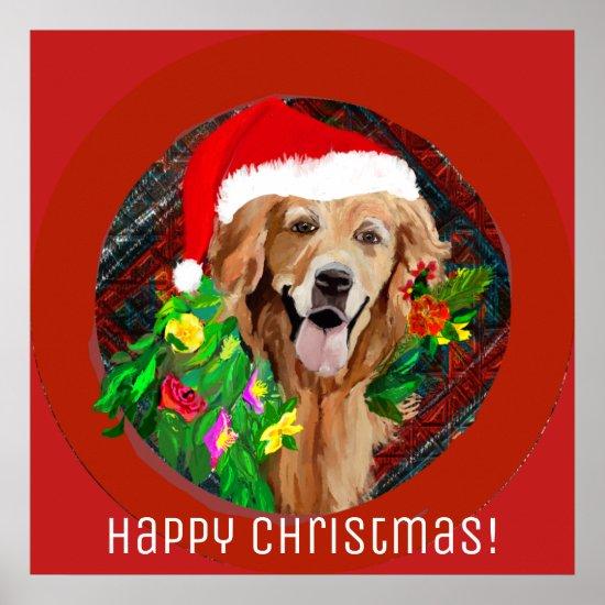 Golden Retriever Christmas Cheer! Poster