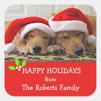 Golden Retriever Christmas Dreams Custom Name Square Sticker