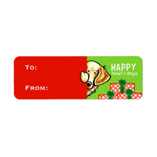 Golden Retriever Christmas Gift Tags Red Green Label