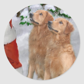 Golden Retriever Christmas Gifts Classic Round Sticker