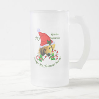 Golden Retriever Christmas Gifts Frosted Glass Beer Mug
