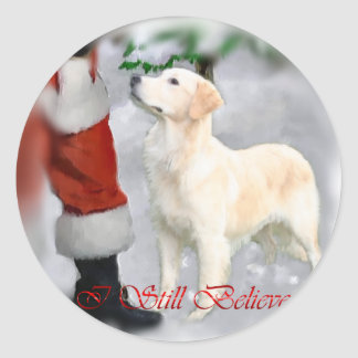 Golden Retriever Christmas Gifts Round Sticker