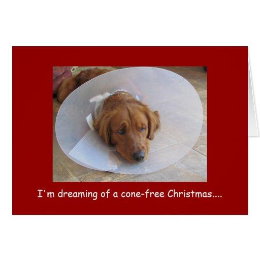 Golden Retriever Christmas Greeting Card, Cone