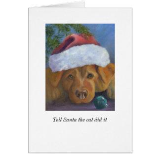 Golden Retriever Christmas mischief Card