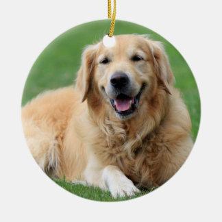 Golden Retriever Christmas Ornament Custom Circle