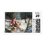 Golden Retriever Christmas Postage Stamp