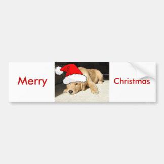 Golden Retriever Christmas Puppy Bumper Sticker