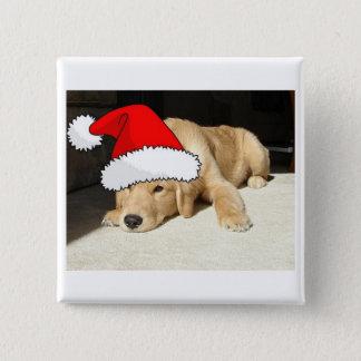 Golden Retriever Christmas Puppy Button