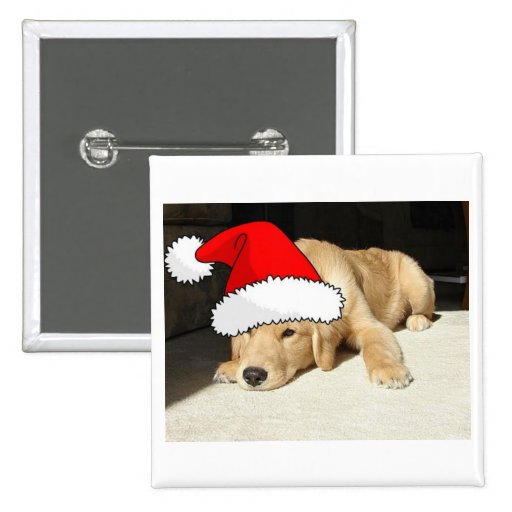 Golden Retriever Christmas Puppy Buttons
