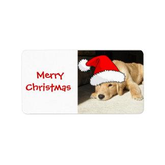 Golden Retriever Christmas Puppy Label
