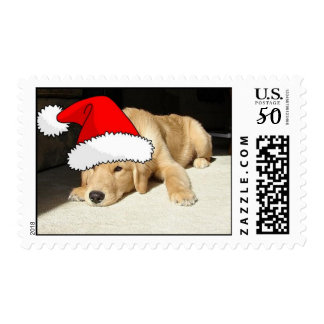 Golden Retriever Christmas Puppy Postage