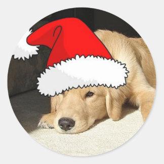 Golden Retriever Christmas Puppy Classic Round Sticker