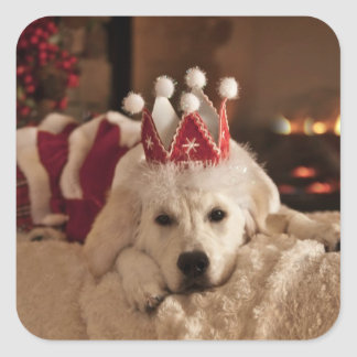 Golden Retriever Christmas Sticker
