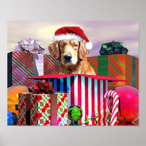 Golden Retriever Christmas Surprise Posters