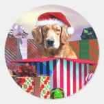Golden Retriever Christmas Surprise Round Sticker