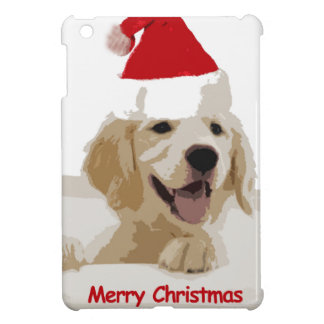 Golden Retriever Christmas with Santa Hat iPad Mini Cover