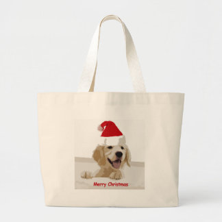 Golden Retriever Christmas with Santa Hat Large Tote Bag