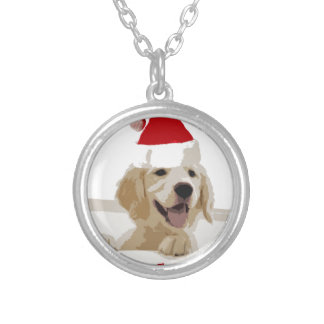 Golden Retriever Christmas with Santa Hat Round Pendant Necklace