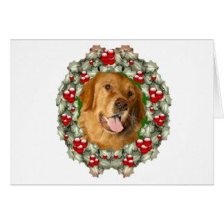 Golden Retriever Christmas wreath Card