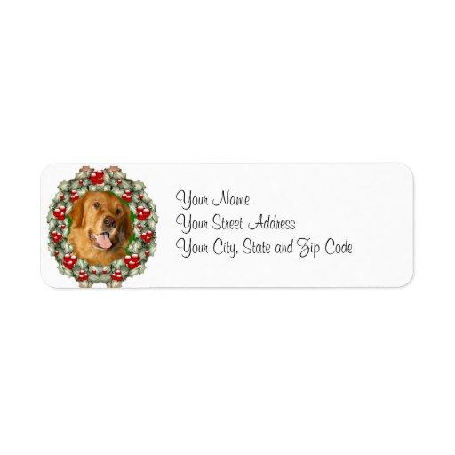 Golden Retriever Christmas wreath Custom Return Address Label