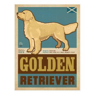 Golden retriever clásico del vintage postal