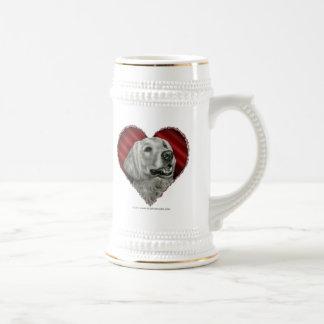 Golden retriever con el corazón taza de café