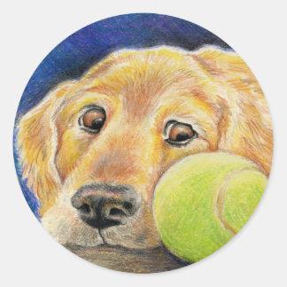 Golden retriever con la pelota de tenis pegatina redonda