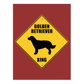 Golden Retriever Crossing (XING) Sign Postcard