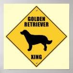 Golden Retriever Crossing (XING) Sign Poster
