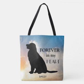 Golden Retriever Custom Name Memorial Silhouette Tote Bag