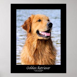Golden Retriever Customizable Text Border Poster