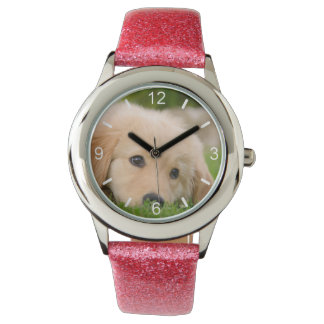 Golden Retriever Cute Puppy Dream  girl dial-plate Wristwatch