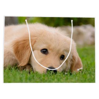 Golden Retriever Cute Puppy Dreaming Portrait - Large Gift Bag