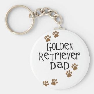 Golden Retriever Dad Basic Round Button Keychain