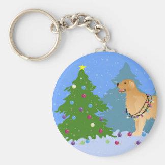 Golden Retriever Decorating Christmas Tree Keychain